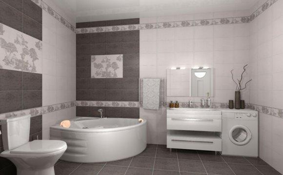 Дизайн ванны плиткой керамин